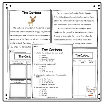 The Caribou Reading Comprehension Activities
