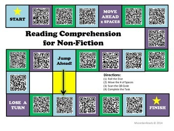 Reading Comprehension Interactive Board Game with QR Codes