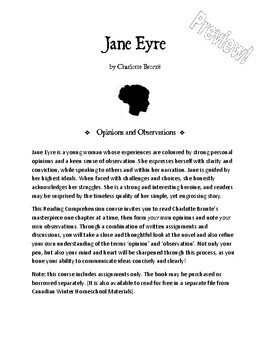 Reading Comprehension: Jane Eyre, by Charlotte Brontë