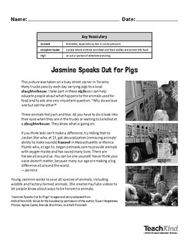 Reading Comprehension: Jasmine Speaks Out For Pigs