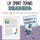 Reading Comprehension - LA Sports Team Names   Non Fiction