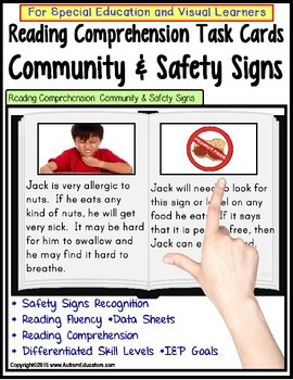 Reading Comprehension LARGE Task Cards COMMUNITY & SAFETY SIGNS