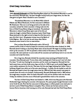 Reading Comprehension Lesson: Chief Crazy Horse Monument including 20 Questions