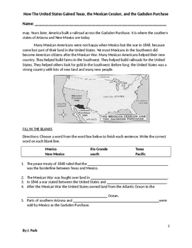 Reading Comprehension Lesson:Texas Mexican Cession Gadsden Purchase+18 Questions