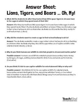 Reading Comprehension: Lions, Tigers, and Bears...Oh My!