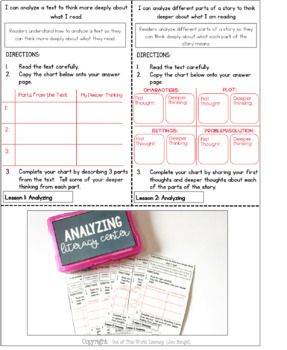 Reading Comprehension Literacy Center: Analyzing- Included in Bundle #1