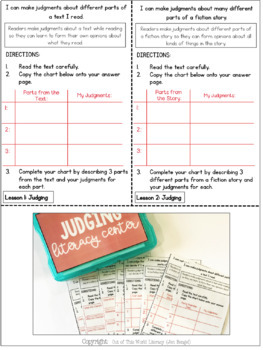 Reading Comprehension Literacy Center: Making Judgments- Included in Bundle #1