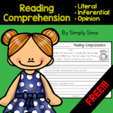 Free Download! Reading Comprehension: Literal, Inferential