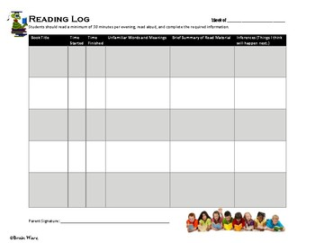 Reading Comprehension Log