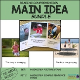 Reading Comprehension MAIN IDEA Pictures & Sentences BUNDLE (Special Education)