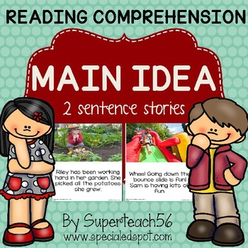 Special Education:  MAIN IDEA 3 Sentences and Pictures