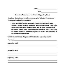 Reading Comprehension Main Idea Summative Assessment