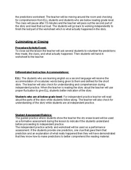 Reading Comprehension: Making Predictions Lesson Plan