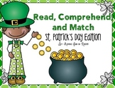 Reading Comprehension Match Up - St. Patrick's Day Edition