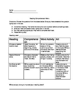 Reading Comprehension Menu