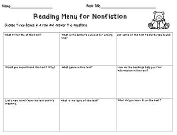 Reading Comprehension Menus- Response to Reading Choice Boards
