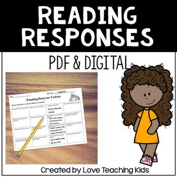 Reading Comprehension Menus- Response to Reading