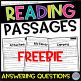 Kindergarten & 1st Grade Reading Comprehension Passages SET 1 - FREEBIE!!