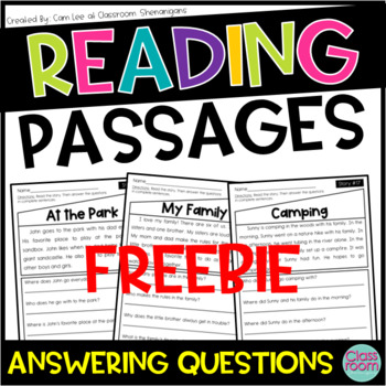 Kindergarten & 1st Grade Reading Comprehension Passages SET 1 - FREEBIE!!
