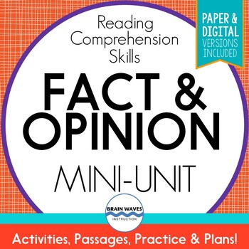 Fact and Opinion Passages, Sorts, & Graphic Organizers (Printable and Digital)