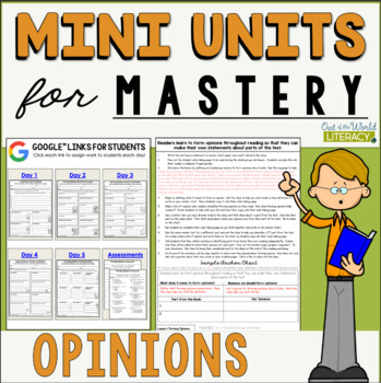Reading Comprehension Mini Unit for Mastery- Forming Opinions