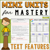 Reading Mini Unit for Mastery- Text Features | Distance Le