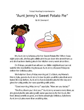 Reading Comprehension No. 1 - Aunt Jenny's Sweet Potato Pie