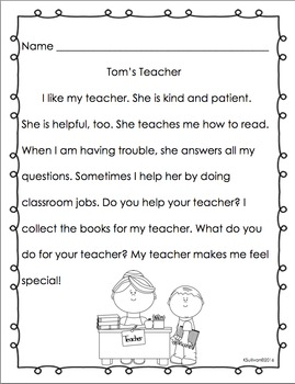 Back to School Reading Comprehension Passages and questions