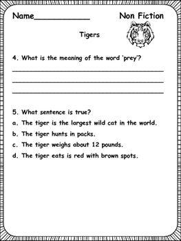 Nonfiction Passages and Comprehension Printables