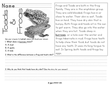 Reading Comprehension - Non Fiction Passages -  Read, Highlight, Write & Draw
