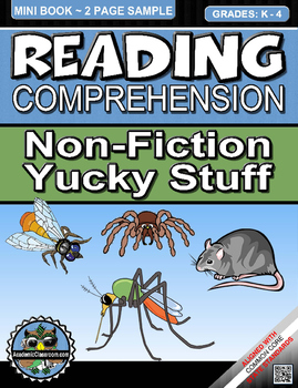 Reading Comprehension Non-Fiction Yucky Stuff Mini-Book Gr