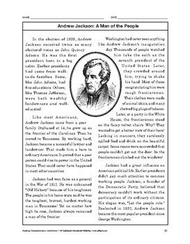 Reading Comprehension Nonfiction: Andrew Jackson: A Man of the People