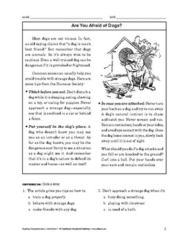 Reading Comprehension Nonfiction: Are You Afraid of Dogs?