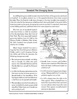 Reading Comprehension Nonfiction: Baseball: The Changing Game