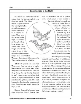 Reading Comprehension Nonfiction: Bats: Echoes in the Night