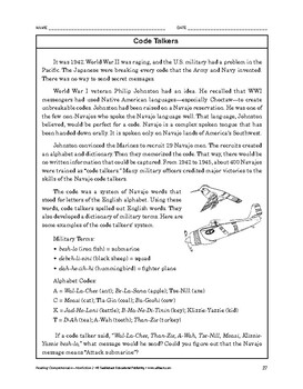 Reading Comprehension Nonfiction: Code Talkers