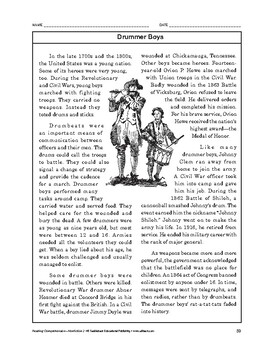 Reading Comprehension Nonfiction: Drummer Boys