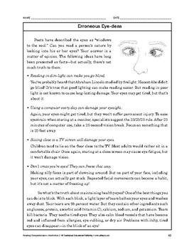 Reading Comprehension Nonfiction: Erroneous Eye-deas