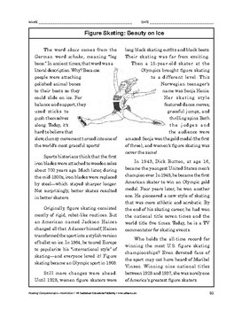 Reading Comprehension Nonfiction: Figure Skating: Beauty on Ice