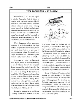 Reading Comprehension Nonfiction: Flying Doctors: Help Is