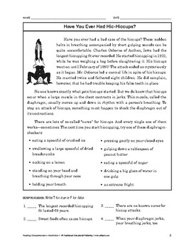 Reading Comprehension Nonfiction: Have You Ever Had Hic-Hiccups?