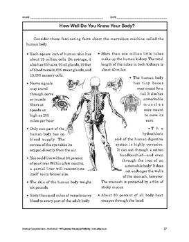 Reading Comprehension Nonfiction: How Well Do You Know Your Body?