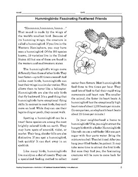 Reading Comprehension Nonfiction: Hummingbirds: Fascinating Feathered Friends
