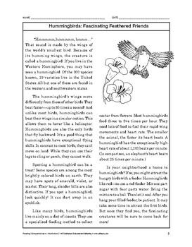 Reading Comprehension Nonfiction: Hummingbirds: Fascinatin