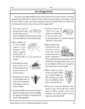 Reading Comprehension Nonfiction: It's a Buggy World