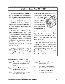 Reading Comprehension Nonfiction: Life in the Olden Days: 1910-1920