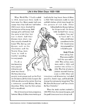 Reading Comprehension Nonfiction: Life in the Olden Days: 1920-1930