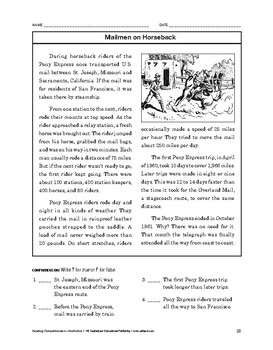 Reading Comprehension Nonfiction: Mailmen on Horseback