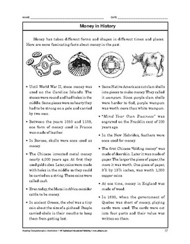 Reading Comprehension Nonfiction: Money in History