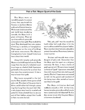 Reading Comprehension Nonfiction: Pok-a-Tok: Mayan Sport o
